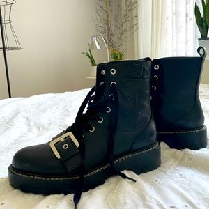 Rare Zara leather combat boots